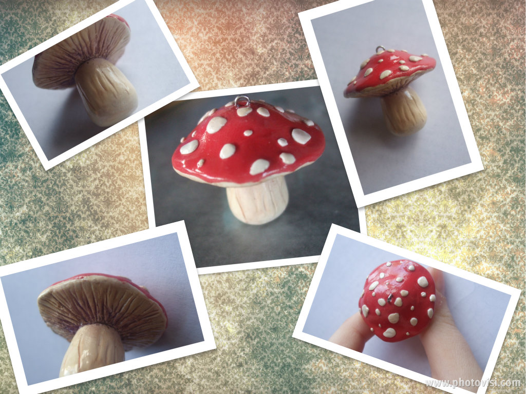 Red Mushroom Pendent collage by XxSierraRose