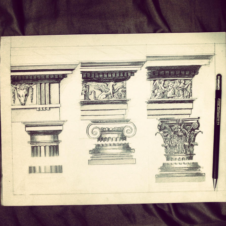 Greek Architecture Drawing greek architecture studyrlouis95 on deviantart