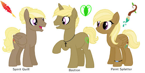 MLP NG: Spirit Quill, Bastion, and Paint Splatter by MagicUniClaws