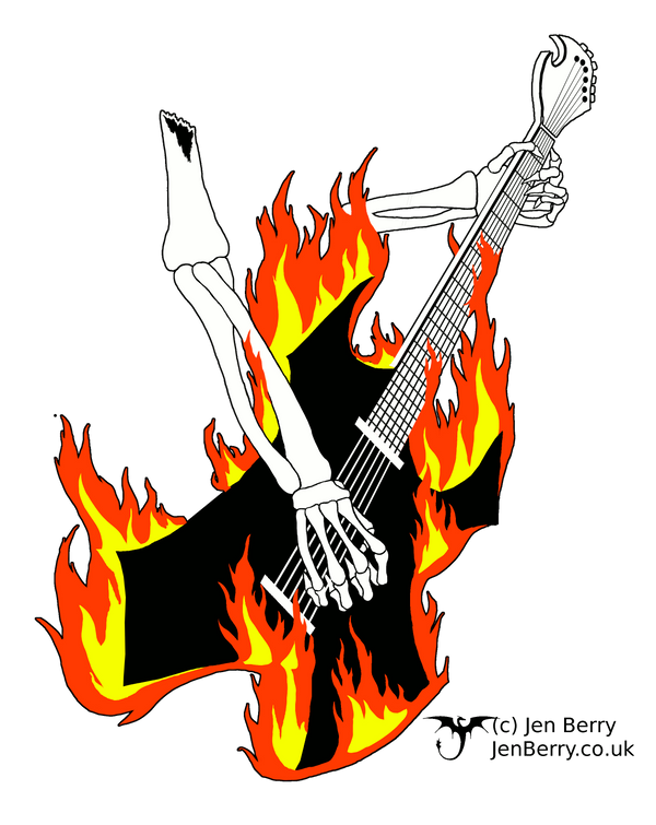 Flaming guitar by nunt