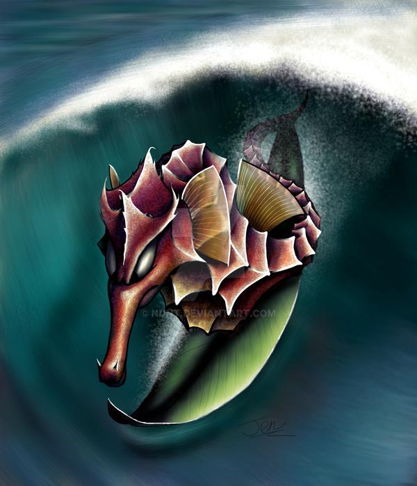 Surfing seahorse by nunt