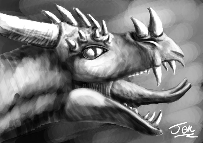 Dragon head sketch by nunt