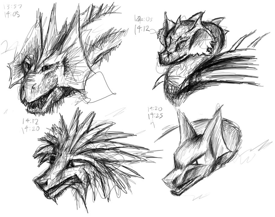 Dragon head sketches by nunt
