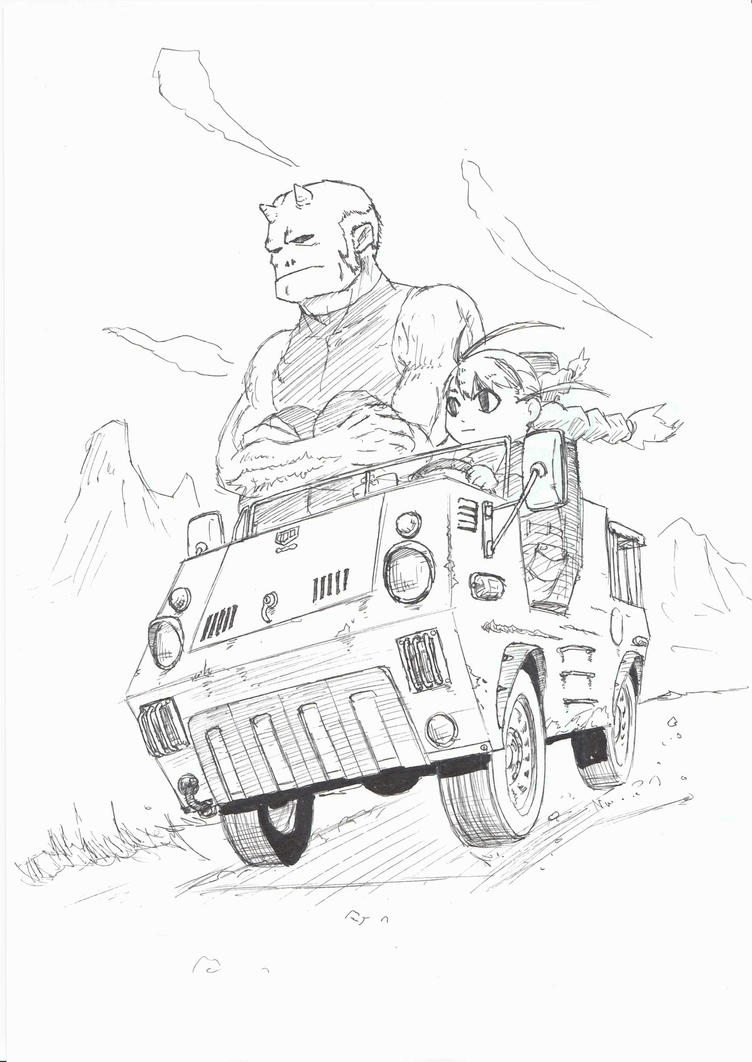 A girl and an ogre on the vehicle by RockokuShioya