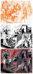 Wolf-Man 22 Page 10-11 Process by JasonHoward