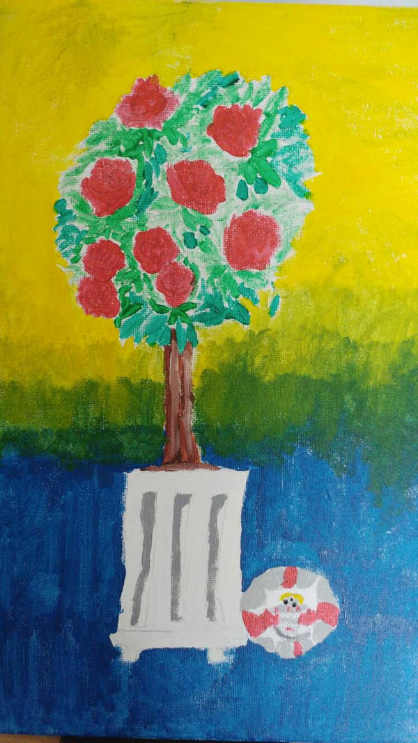 Rose bush observational painting W.I. P by the-anime-snowflake