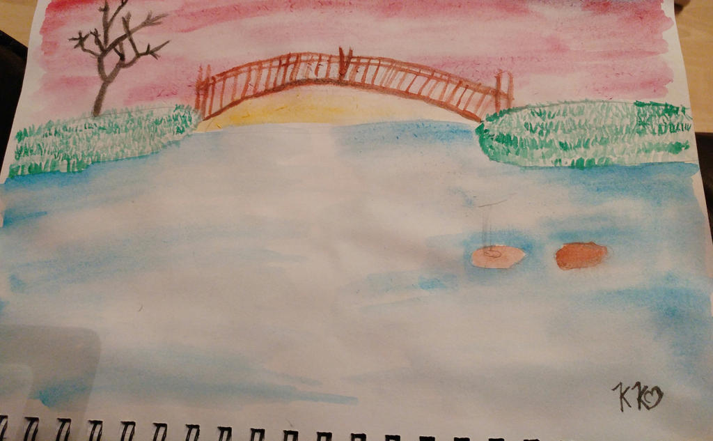 water colour bridge landscapes. by the-anime-snowflake