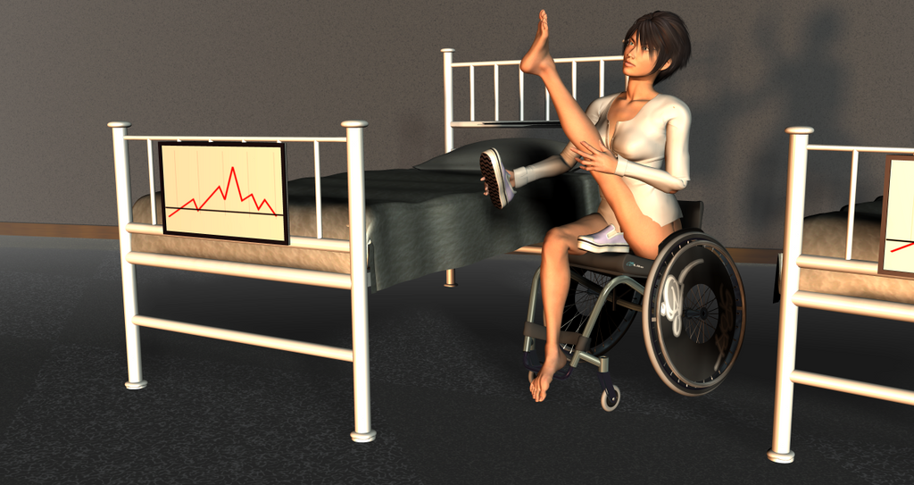 Paraplegic lady dangling legs - 2 part 6