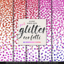 Glitter confetti clipart and digital papers