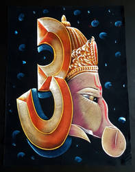 Om and Ganesha in one Hand Made by kcollectionsca