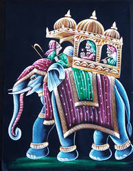 Indian King on a elephant Hand Painted on Velvet by kcollectionsca