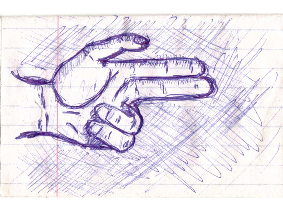 Purple ink on notepaper drawing of a hand with two fingers and a thumb making a gun.