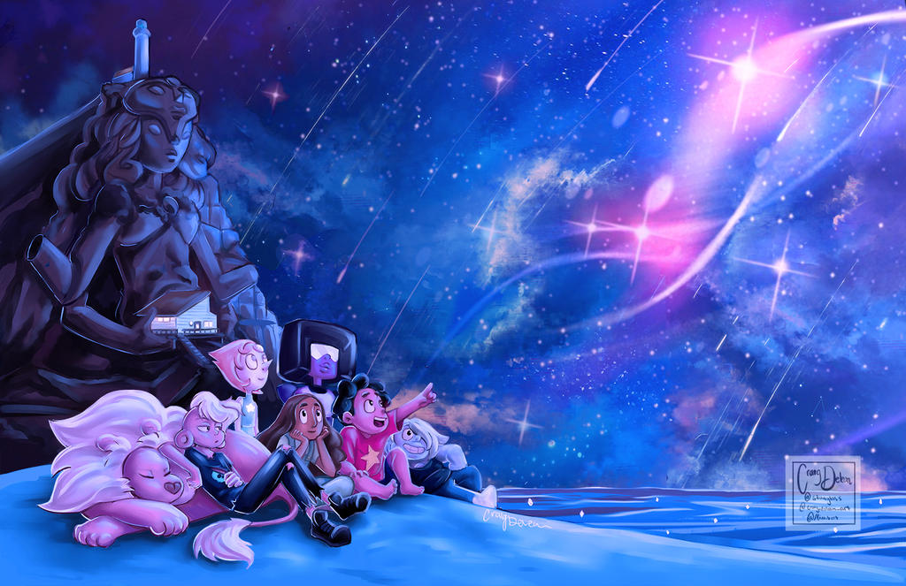 Steven universe redraw of the intro scene with Lars and lion and Connie because they are crystal gems!!! they deserve to be part of the squad!!!