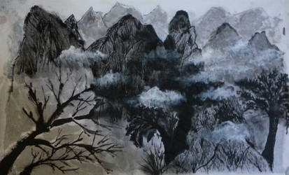 Black and White Colored Scenery Painting by MarineWave