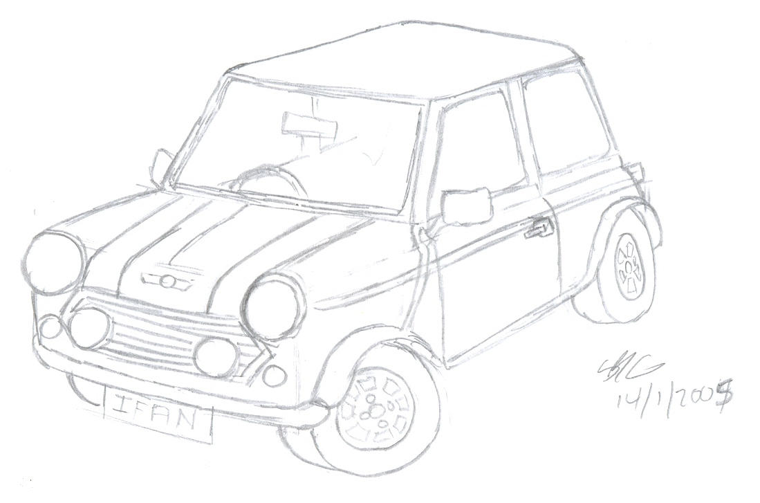 mini cooper line drawing sketch coloring page sketch