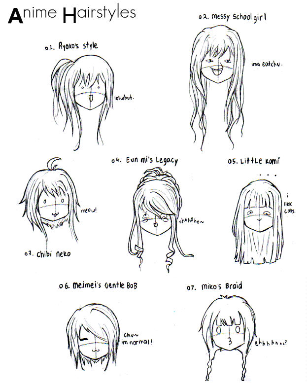 Anime Hairstyles by chocobunn