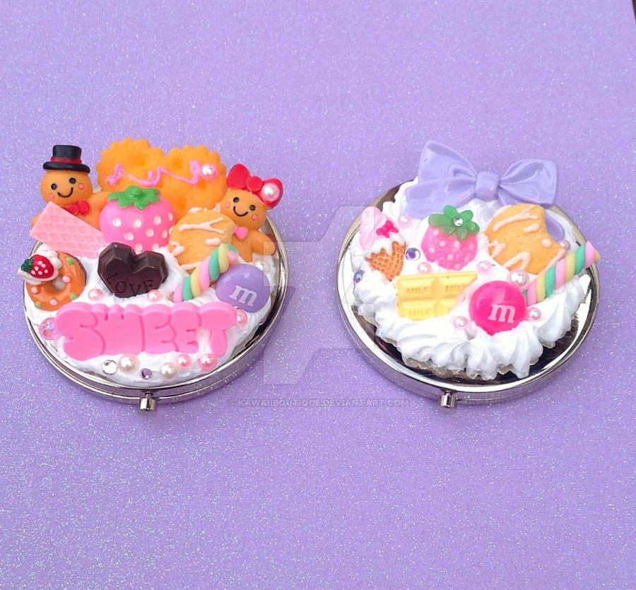Kawaii Decoden Gingerbread  cookies compact mirror by KAWAIIBOUTIQUE