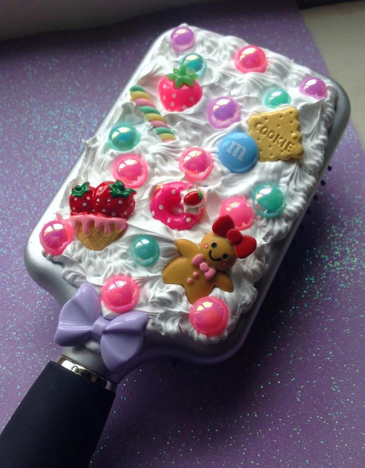 candy gingerbread whipped cream kawaii hair brush by KAWAIIBOUTIQUE