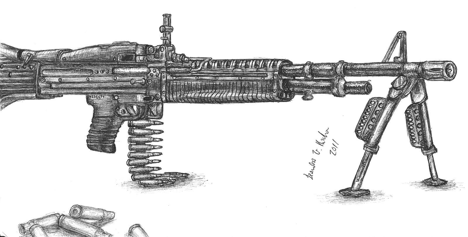 machine gun drawing