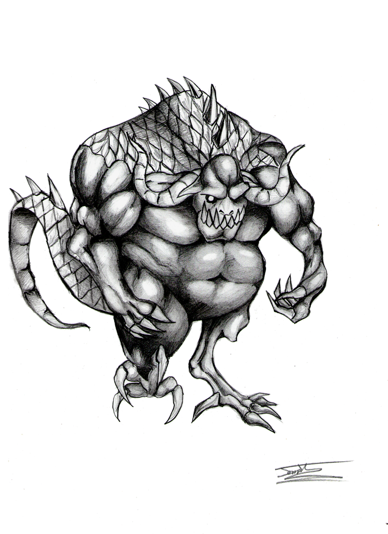 Phunbaba Pencil Drawing by Jameswhite89