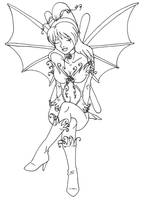 Vine Faerie Lineart by CrystallineColey