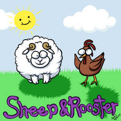 Sheep And Rooster by CrystallineColey