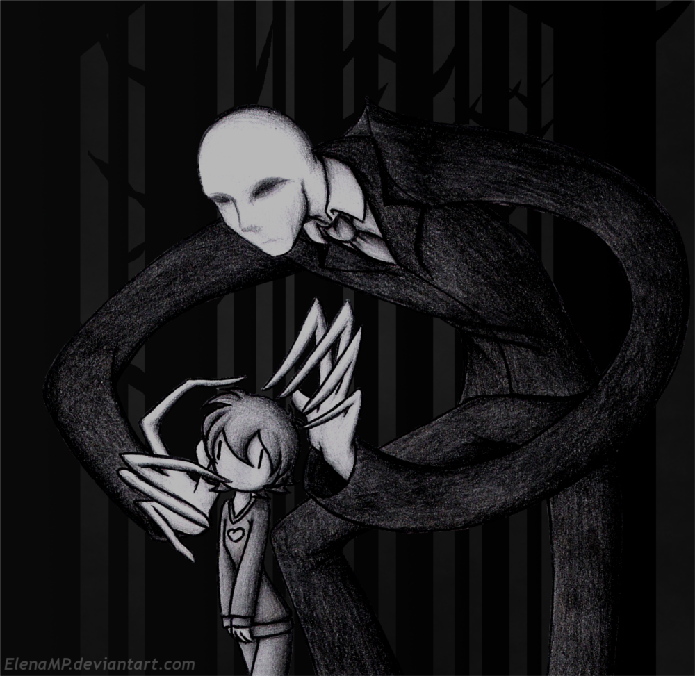 Slender Man and the girl by ElenaMP
