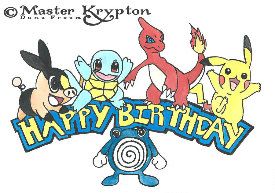 deviantart more like pokemon birthday card by masterkrypton, Birthday card