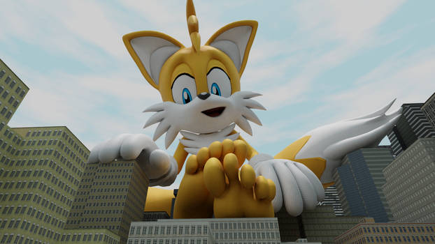 Giant tails relaxing in the city.