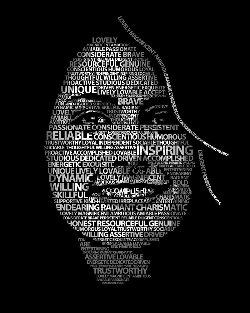Lady In Black Typography Portrait by erezija