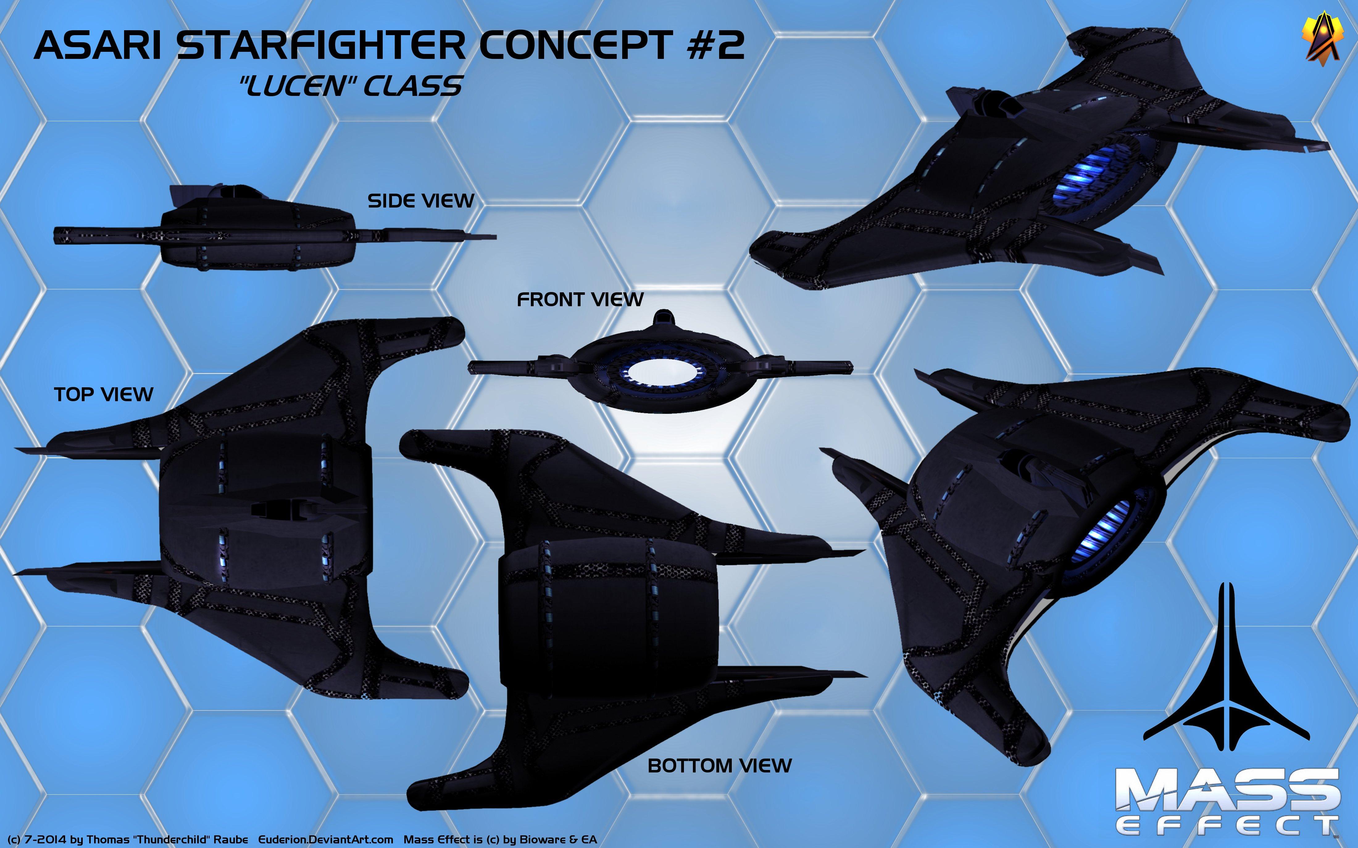 Asari Starfighter Concept 2 (Lucen class) by Euderion