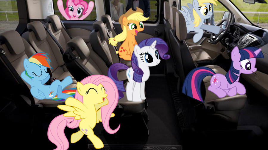 Mane 6 With Derpy In A Car by Macgrubor