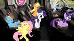 Mane 6 With Derpy In A Car
