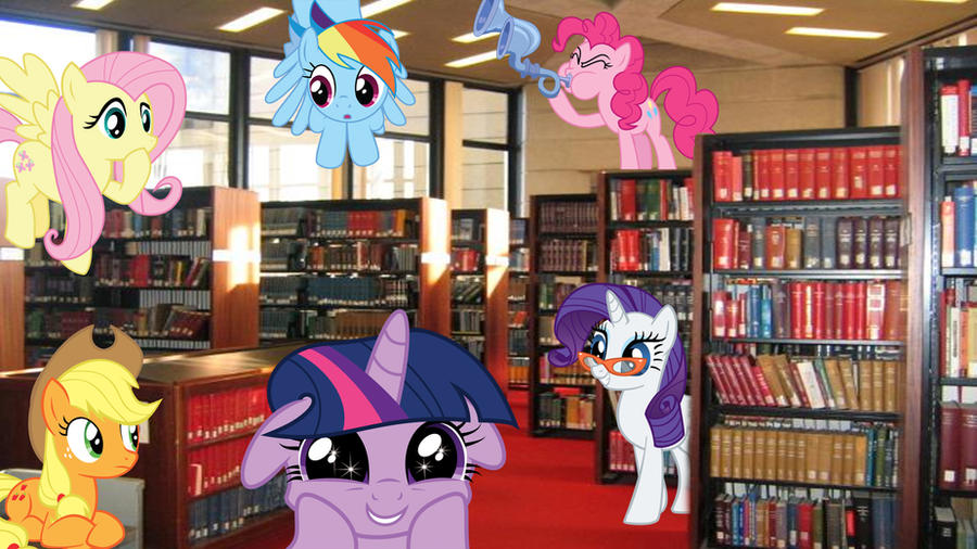 Mane 6 At The Library by Macgrubor