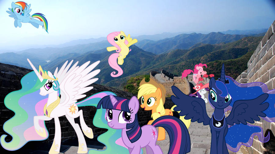 Ponies Visit The Great Wall Of China by Macgrubor
