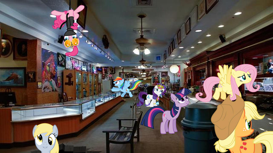 Ponies Visit The Gold And Silver Pawn Shop by Macgrubor