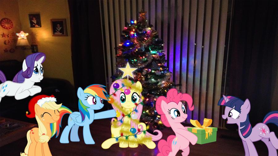 Mane 6 Around The Christmas Tree by Macgrubor