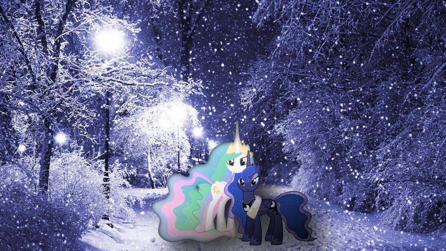 Celestia And Luna Posing In The Snow by Mr-Kennedy92