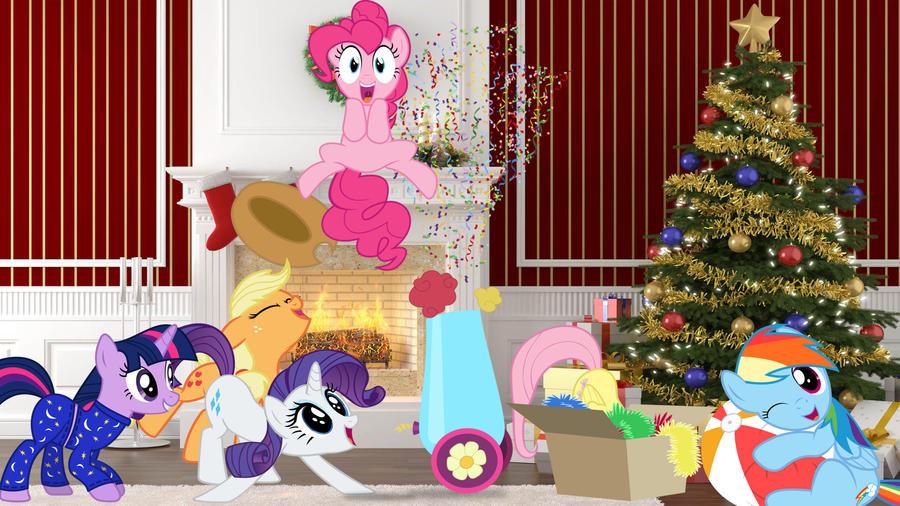 Mane 6 On Christmas Morning by Macgrubor