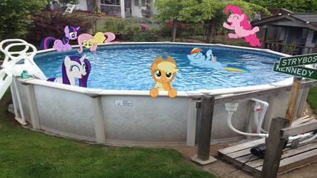 Mane 6 In My Pool by Mr-Kennedy92
