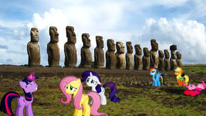 Mane 6 At Easter Island by Mr-Kennedy92