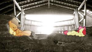 Applejack And Applebloom Sleeping In The Hayloft