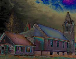 Abandoned Church, Spirit Lake, Idaho, Solarization by quintmckown