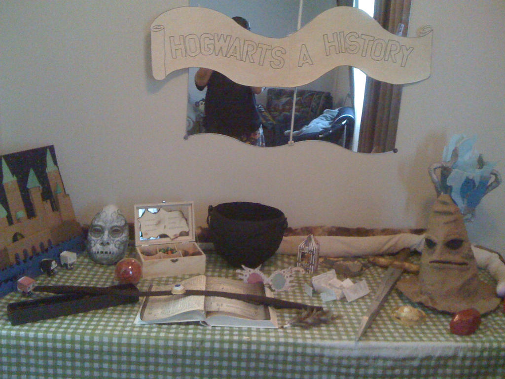harry potter table of memorabilia by soulterror101