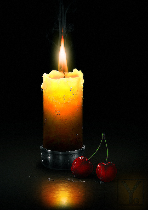 Candle and Cherries by Aaorin