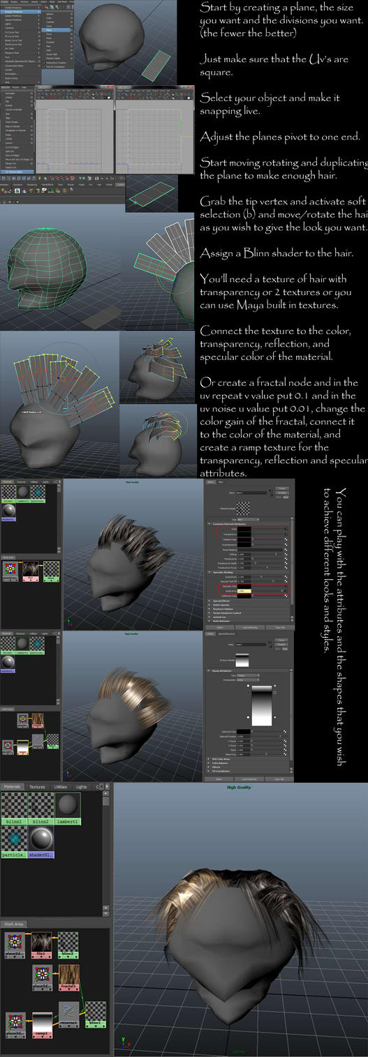 Hair polygon modeling tutorial by NightmaresInd