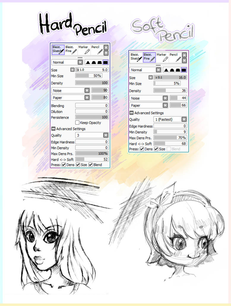 2 pencil brushes paint tool sai by ichigoarts
