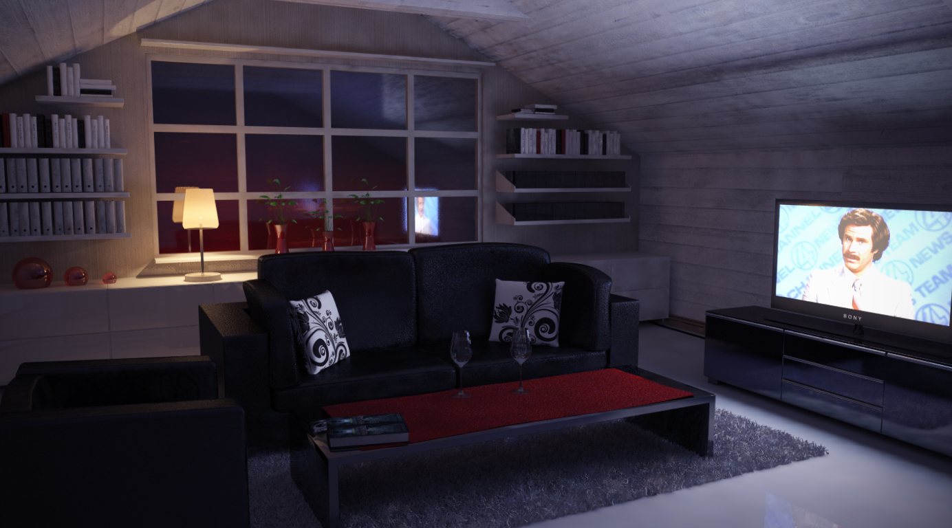 Bedroom at night time - Attic Room Nighttime By Perbear42