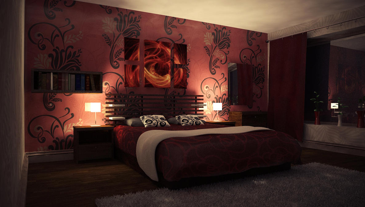 Bedroom at night time - Nightly Red Bedroom By Perbear42
