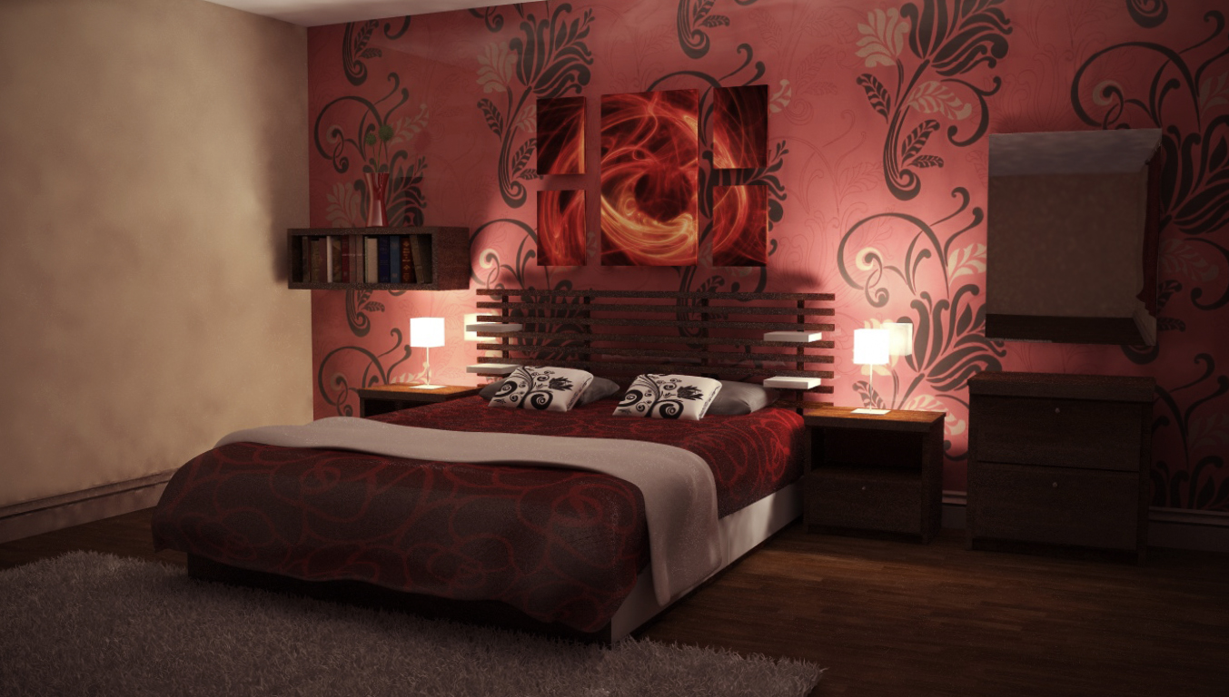 Nightly red bedroom2 by perbear42 on deviantart for Red bedroom wallpaper